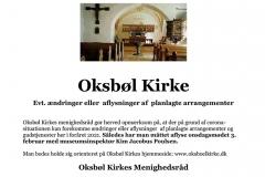 Aflysning  af arrangementer Oksbøl Kirke